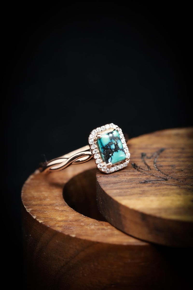 EMERALD CUT TURQUOISE WEDDING BAND SET WITH DIAMOND HALO AND TWISTED BAND (fully customizable)