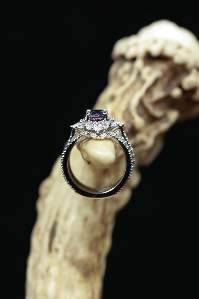 """NORTH STAR"" -  OVAL CUT CHATHAM ALEXANDRITE WEDDING BAND SET FEATURING DIAMOND ACCENTS & A CONTOURED WEDDING BAND (fully customizable)"