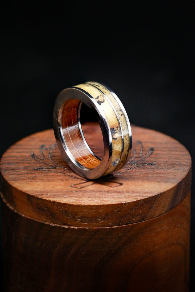 WHISKEY BARREL CHANNEL LINED RING WITH GOLD NUGGETS IN BUCKEYE BURL WOOD AND A SPALTED MAPLE INLAY (available in titanium, silver, black zirconium, damascus steel & 14K white, rose or yellow gold)