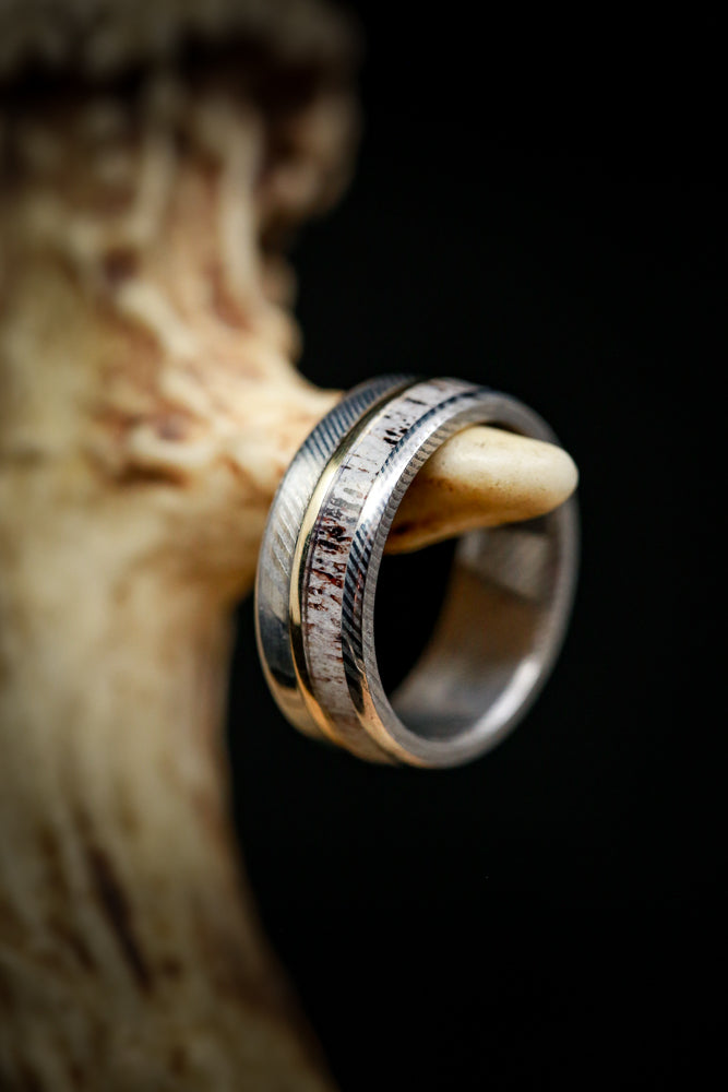 """TANNER"" IN ELK ANTLER WITH 14K GOLD INLAY AND BLACK ZIRCONIUM (fully customizable)"