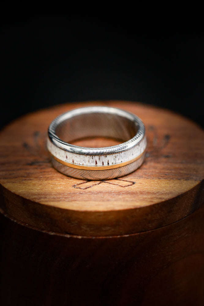 """TANNER"" WEDDING RING WITH ELK ANTLER & 14K GOLD INLAY (fully customizable)"