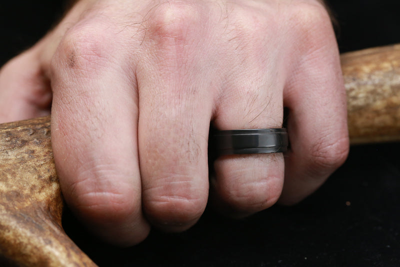 BLACK ZIRCONIUM & WHISKEY BARREL LINED WEDDING BAND (available in silver, black zirconium, damascus steel & 14K white, yellow, or rose gold)