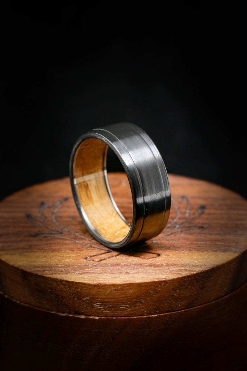 WHISKEY BARREL WEDDING RING IN CHANNEL LINING (available in titanium, silver, black zirconium, damascus steel & 14K white, rose, or yellow gold)