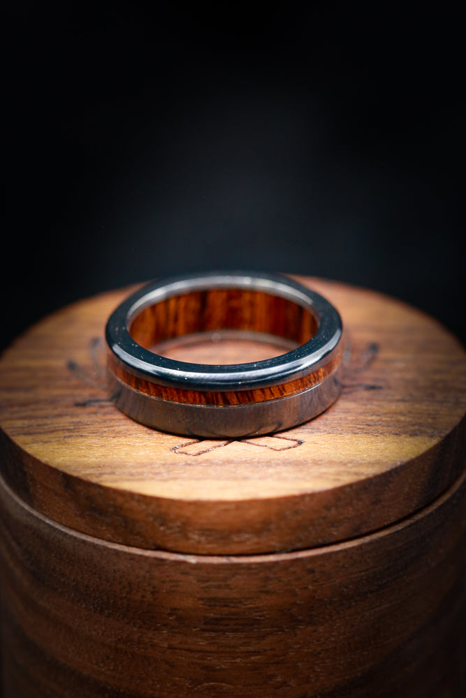 """VERTIGO"" WITH IRONWOOD LINING AND IRONWOOD OFFSET INLAY (available in silver, black zirconium, damascus steel & 14K white, yellow, or rose gold)"