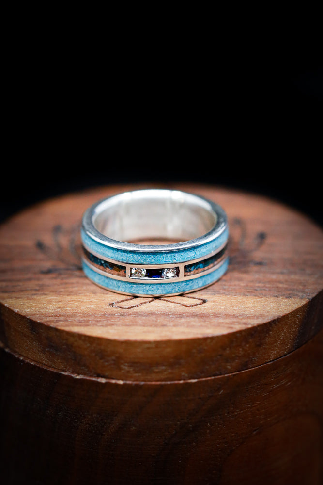 """RIO"" - 14K GOLD RING WITH BLUE SAPPHIRE & DIAMOND ACCENTS, TURQUOISE, AND PATINA COPPER (fully customizable)"