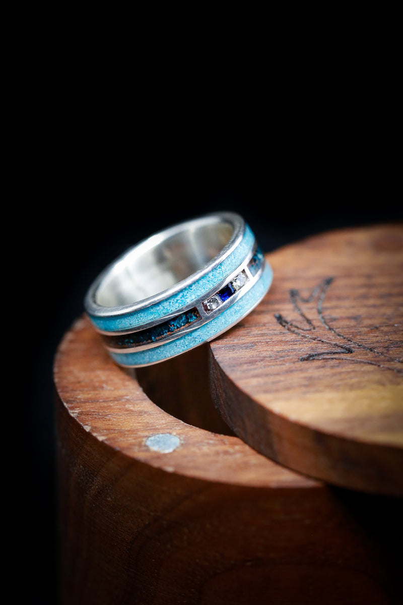 """RIO"" - 14K WHITE GOLD RING WITH BLUE SAPPHIRE & DIAMOND ACCENTS, TURQUOISE, AND PATINA COPPER - SIZE 7 1/4"