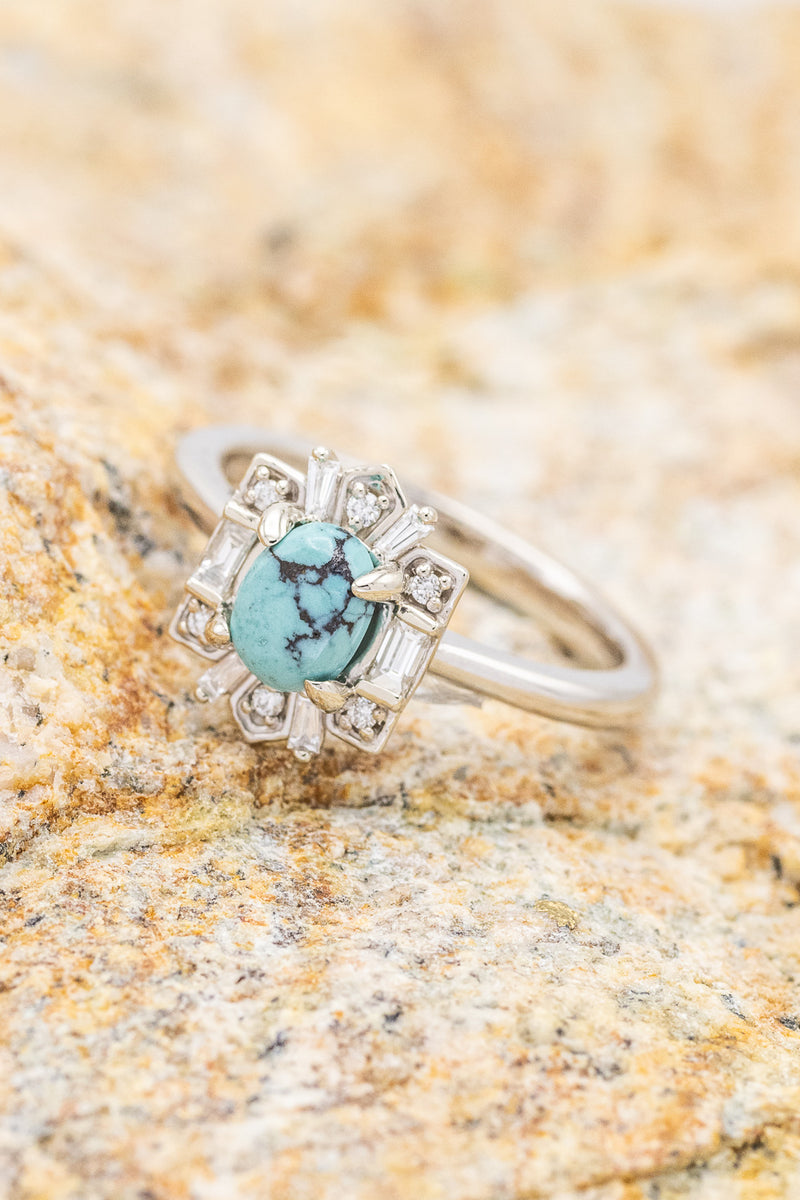"""CLEOPATRA"" BRIDAL SUITE ENGAGEMENT RING IN 14K GOLD & TURQUOISE WITH DIAMOND HALO & TRACER (fully customizable)"