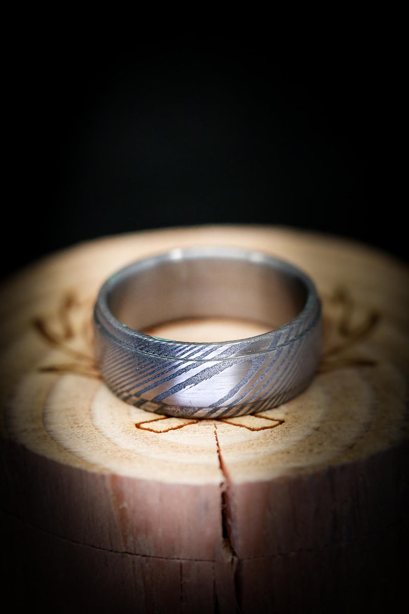 DAMASCUS STEEL WEDDING BAND WITH RAISED CENTER PIECE (available in SILVER, BLACK ZIRCONIUM & DAMASCUS STEEL)