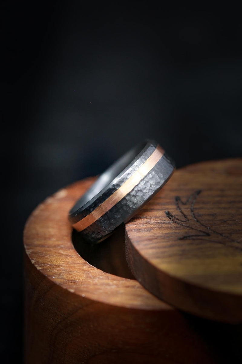 Rugged Wedding Ring with Rose Gold & Black Zirconium - Staghead Designs