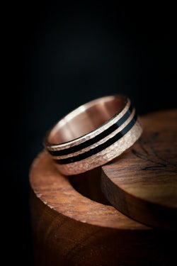 Unique Rose Gold Wedding Ring with Black Acrylic Inlays - Staghead Designs