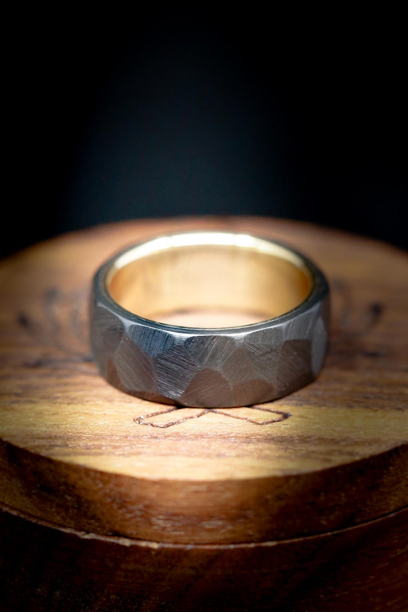 FACETED BLACK ZIRCONIUM WEDDING RING WITH A 14K GOLD LINING (available with a 14K white, rose, or yellow gold lining)
