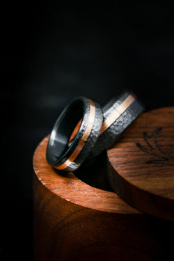 Matching Black and Gold Wedding Rings - Hammered Black Zirconium Rings - Staghead Designs