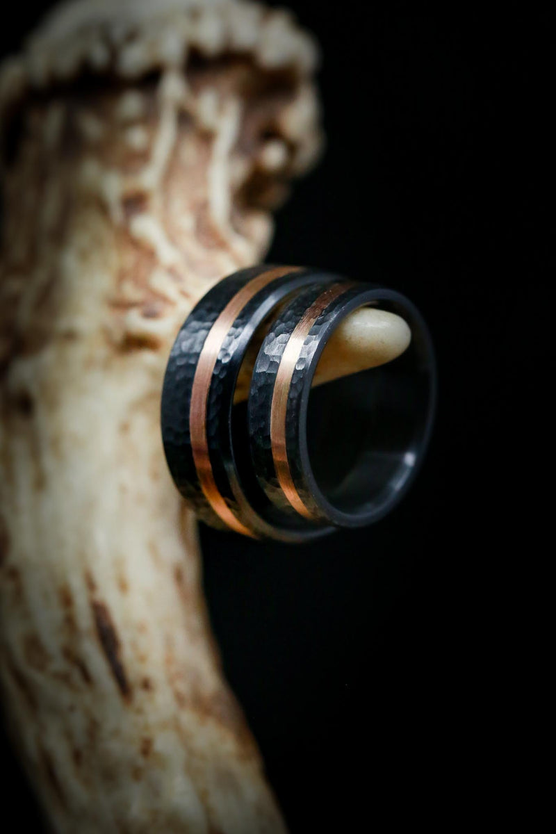 MATCHING SET OF HAMMERED BLACK ZIRCONIUM & 14K GOLD INLAY WEDDING BANDS
