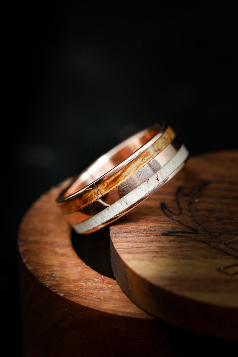 Whiskey Wood Wedding Ring with Antler & 14K Rose Gold - Staghead Designs