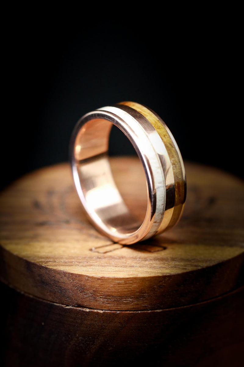 WHISKEY BARREL OAK WEDDING BAND WITH ANTLER & 14K GOLD (available in 14K white, rose, or yellow gold)