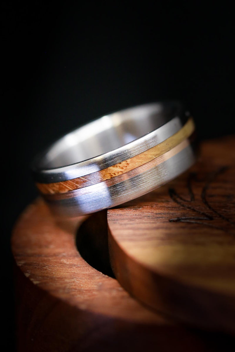 TITANIUM WEDDING RING WITH WHISKEY BARREL OAK & A 14K GOLD INLAY (fully customizable)