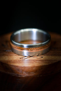Men's Wood & Titanium Wedding Ring with 14K Rose Gold - Staghead Designs