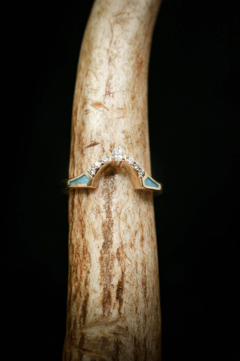 TURQUOISE CONTOURED WEDDING BAND WITH DIAMOND ACCENTS (available in 14K white, rose or yellow gold)