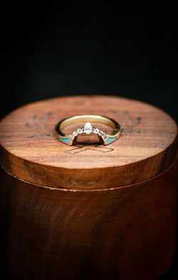 Women's Turquoise Wedding Band with Diamond Accents - Staghead Designs