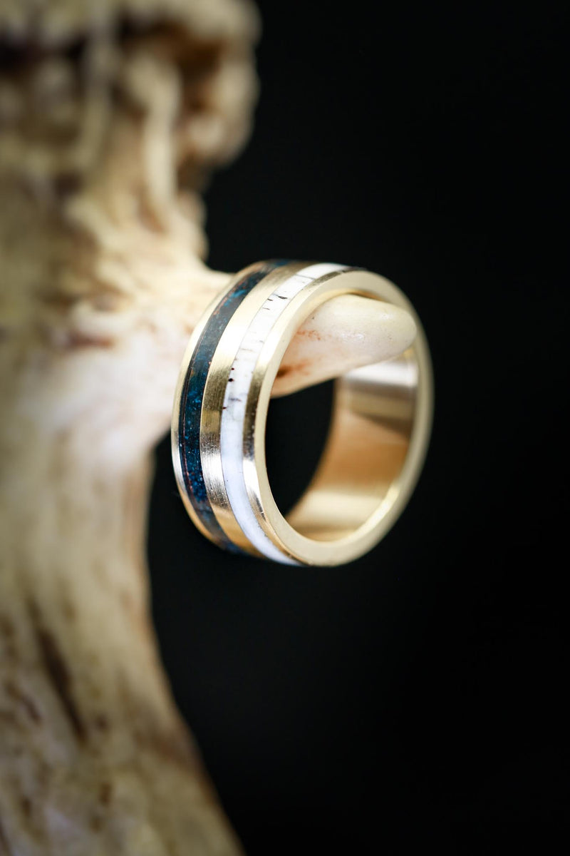 14K GOLD WEDDING BAND WITH PATINA COPPER & ANTLER INLAYS (fully customizable)