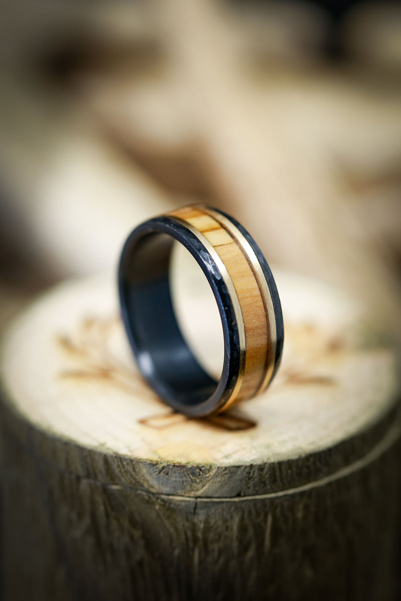 BETHLEHEM OLIVE WOOD RING WITH HAMMERED BLACK ZIRCONIUM & 14K GOLD INLAYS (available in black zirconium, silver, damascus steel & 14K white, yellow, or rose gold)