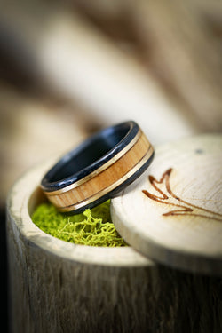 Wood Wedding Ring with Gold and Black Zirconium - Staghead Designs