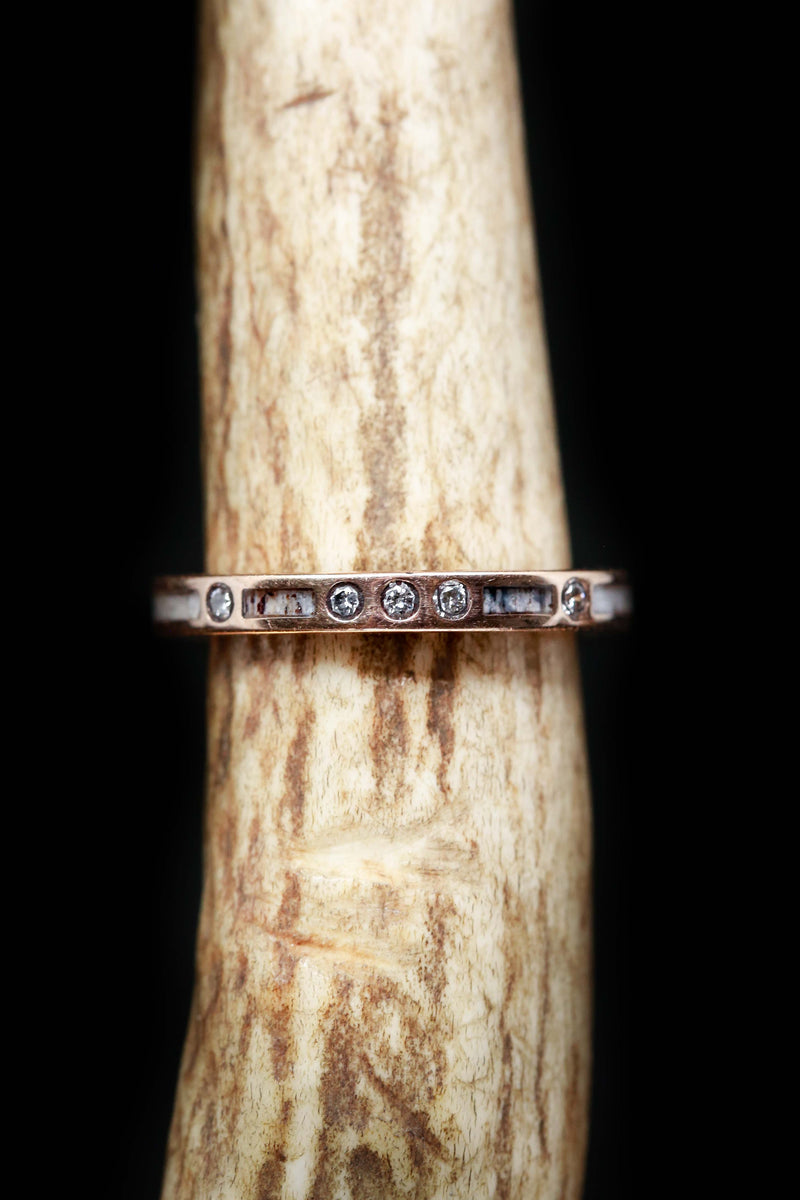 Antler & Diamond Wedding Band for Women - Staghead Designs