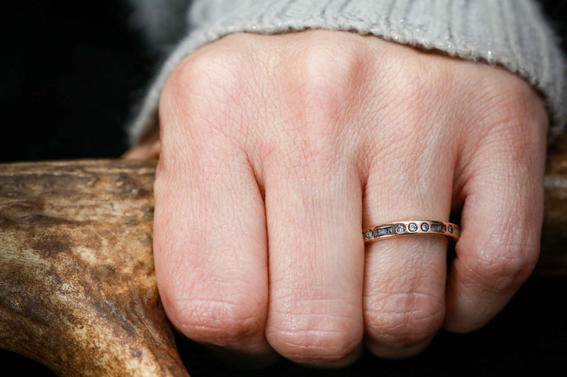 ANTLER WEDDING BAND WITH DIAMOND ACCENTS (fully customizable)