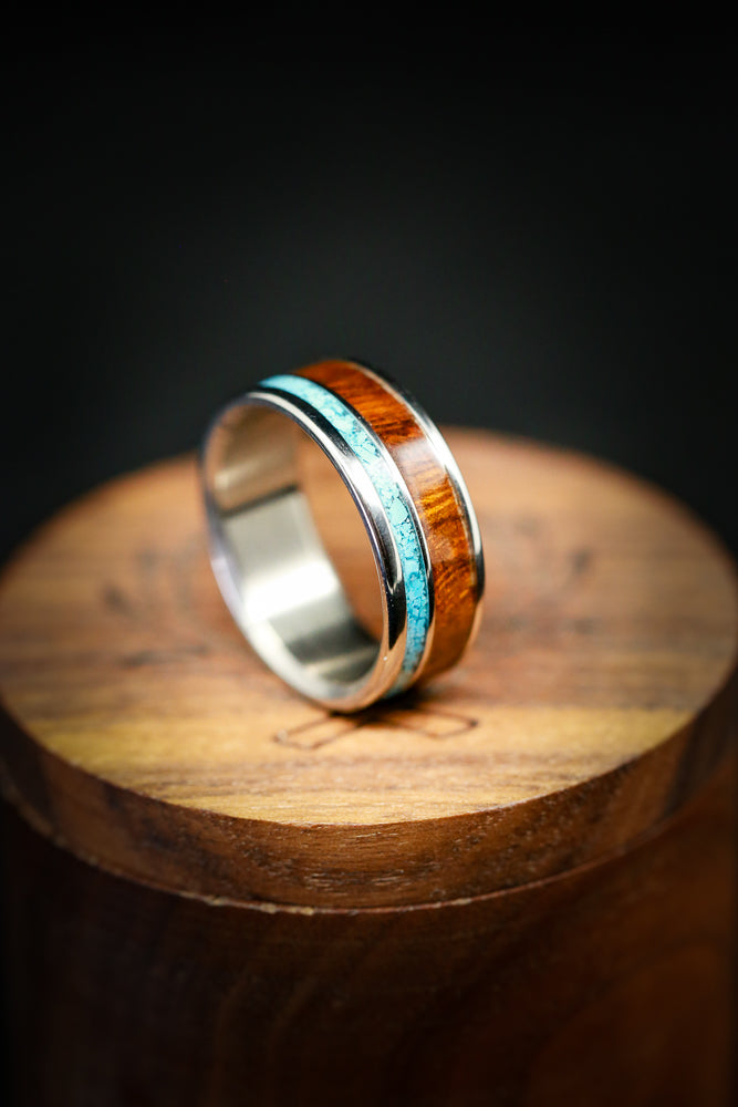 Turquoise Wedding Ring with Ironwood & Titanium - Staghead Designs