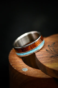 HAND CRUSHED TURQUOISE AND IRONWOOD WEDDING BAND (available in titanium, silver, black zirconium, damascus steel & 14K white, rose, or yellow gold)