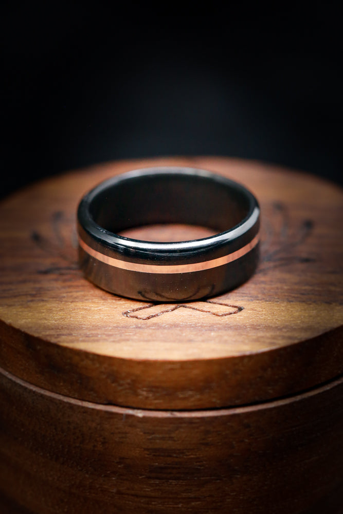 Black Zirconium Wedding Band with 14K Rose Gold - Staghead Designs