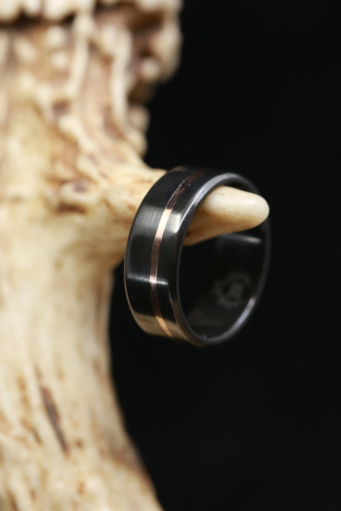 BLACK ZIRCONIUM WEDDING RING WITH THIN 14K GOLD INLAY (fully customizable)