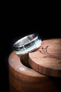 Handmade Antler Wedding Ring with Patina Copper & Turquoise - Staghead Designs
