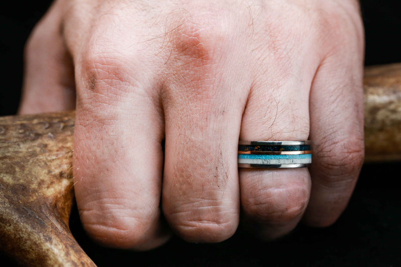 PATINA COPPER WEDDING RING WITH 14K GOLD, TURQUOISE & ANTLER (available in titanium, silver, black zirconium, damascus steel & 14K white, rose, or yellow gold)