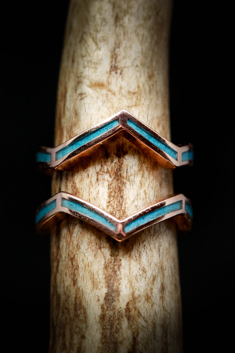 TURQUOISE RING GUARD WITH HAND-CRUSHED TURQUOISE INLAYS (available in 14K rose, yellow, or white gold)