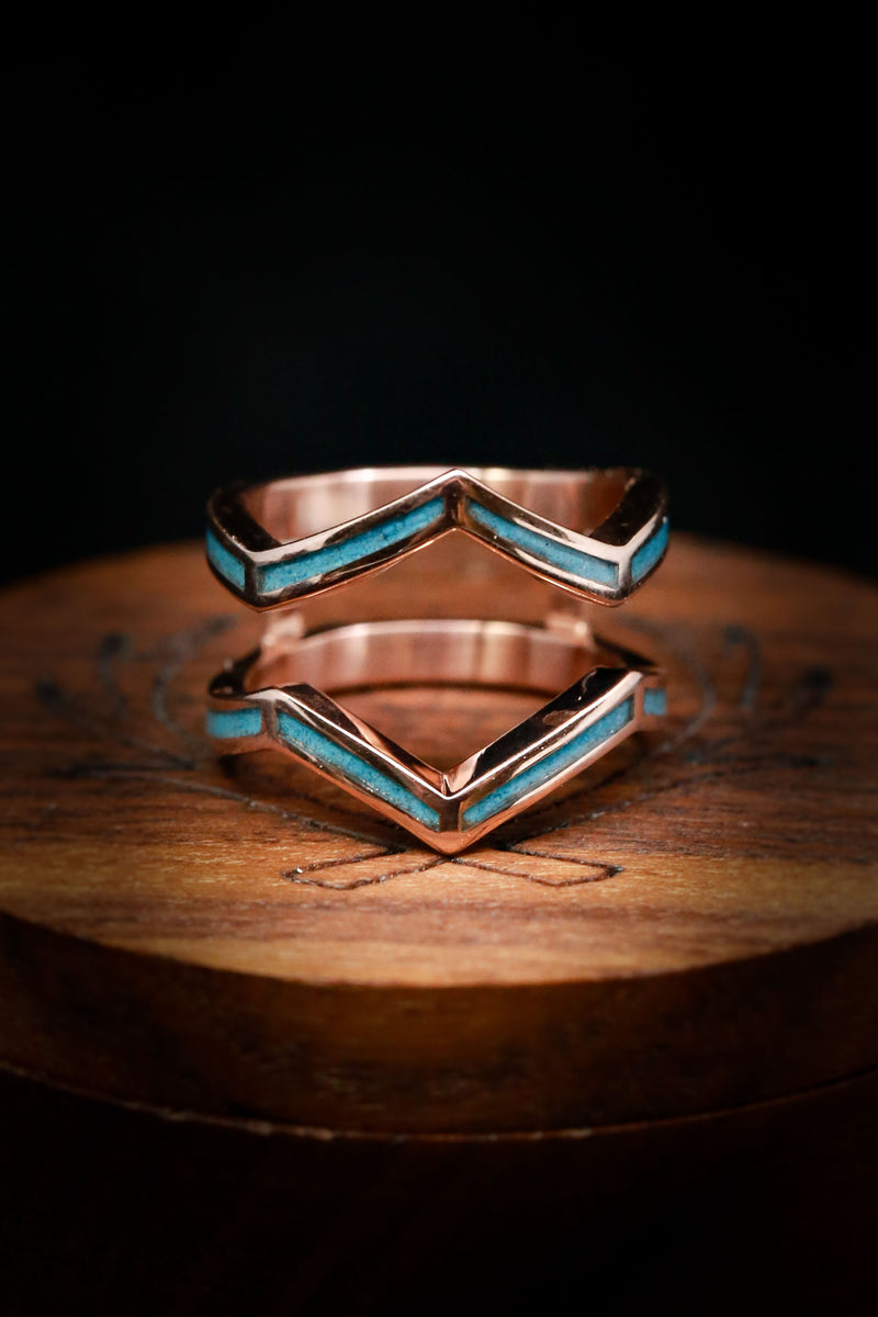 Unique Ring Guard for Wedding Band Set - Turquoise Ring Guard - Staghead Designs