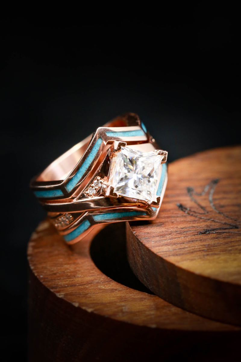 """LINA"" MOISSANITE WEDDING SET WITH TURQUOISE RING GUARD IN 14K GOLD (fully customizable)"
