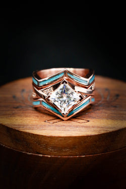 Custom Turquoise Wedding Band Set with Moissanite & Diamond Accents - Staghead Designs