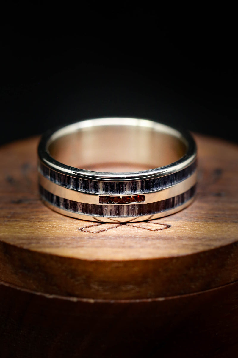 MEN'S GARNET WEDDING RING WITH GREY BIRCH INLAYS (available in 14K white, rose & yellow gold)