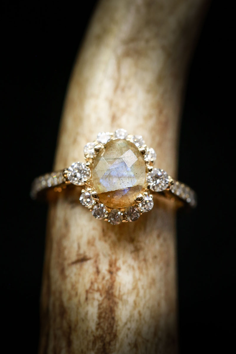 """OPHELIA"" WITH A LABRADORITE CENTER STONE & DIAMOND ACCENTS SET IN 14K GOLD (fully customizable)"