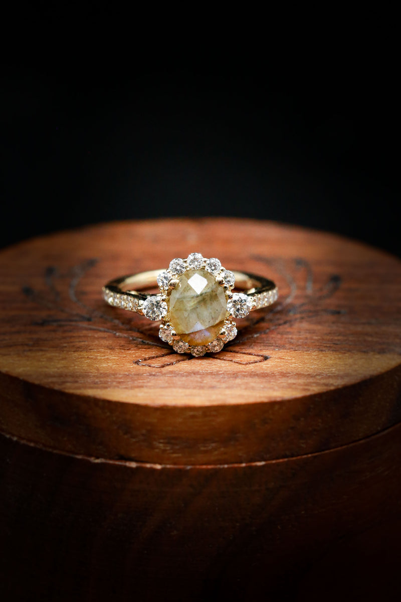 Unique Women's Engagement Ring Featuring Labradorite and Diamond Accents - Staghead Designs