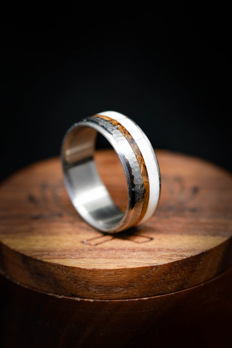 Rugged Titanium Wedding Ring - Wood and Antler Wedding Ring - Staghead Designs