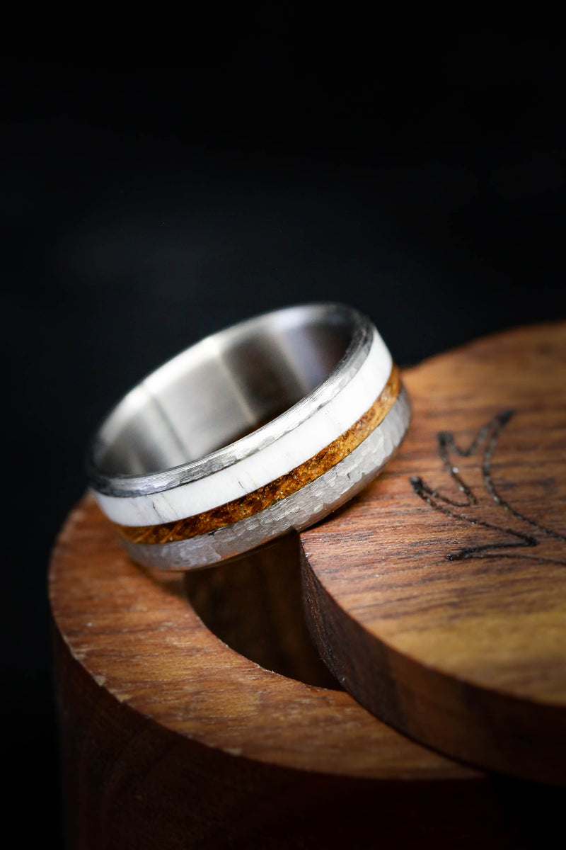 CUSTOM TITANIUM RING WITH WHISKEY BARREL, ANTLER, AND A HAMMERED FINISH (fully customizable)