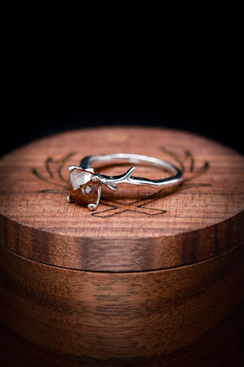 Salt and Pepper Engagement Ring with Antler Style Band - Staghead Designs