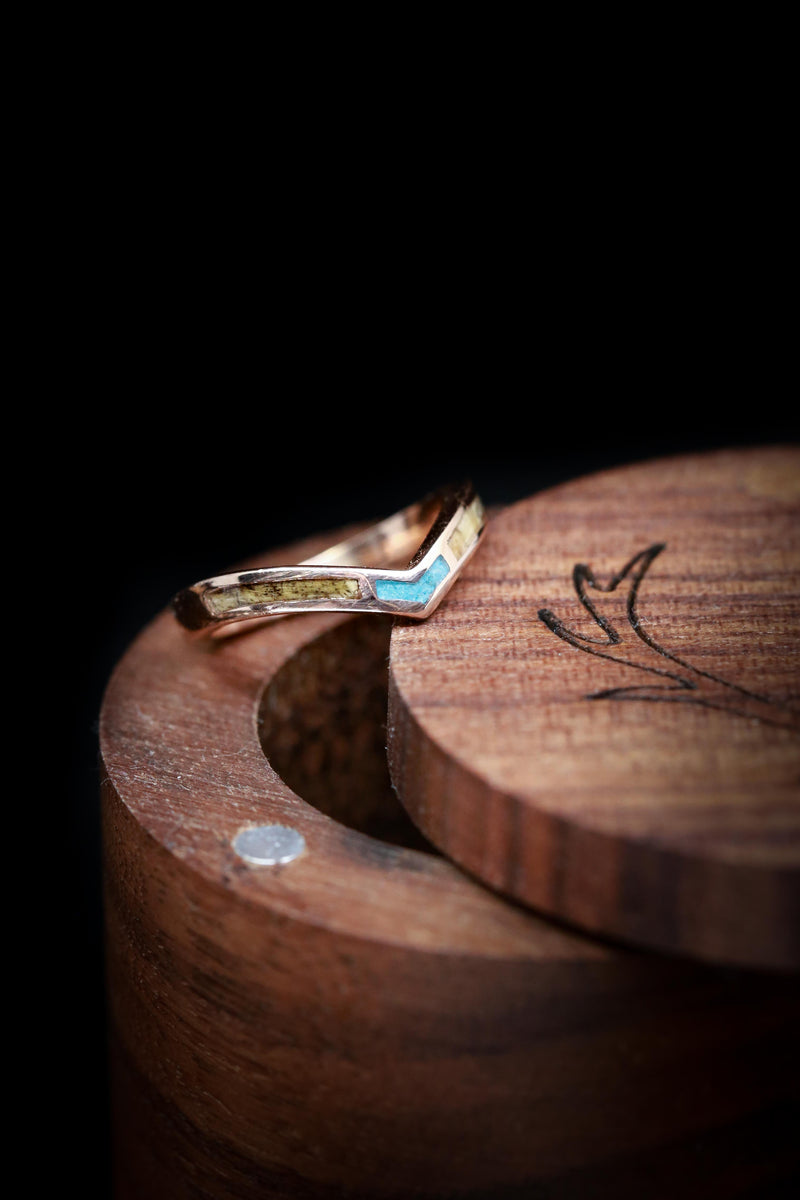 """KIDA"" - 14K GOLD RING WITH BUCKEYE BURL WOOD AND TURQUOISE INLAYS (available in 14K rose, white, and yellow gold with various inlays)"