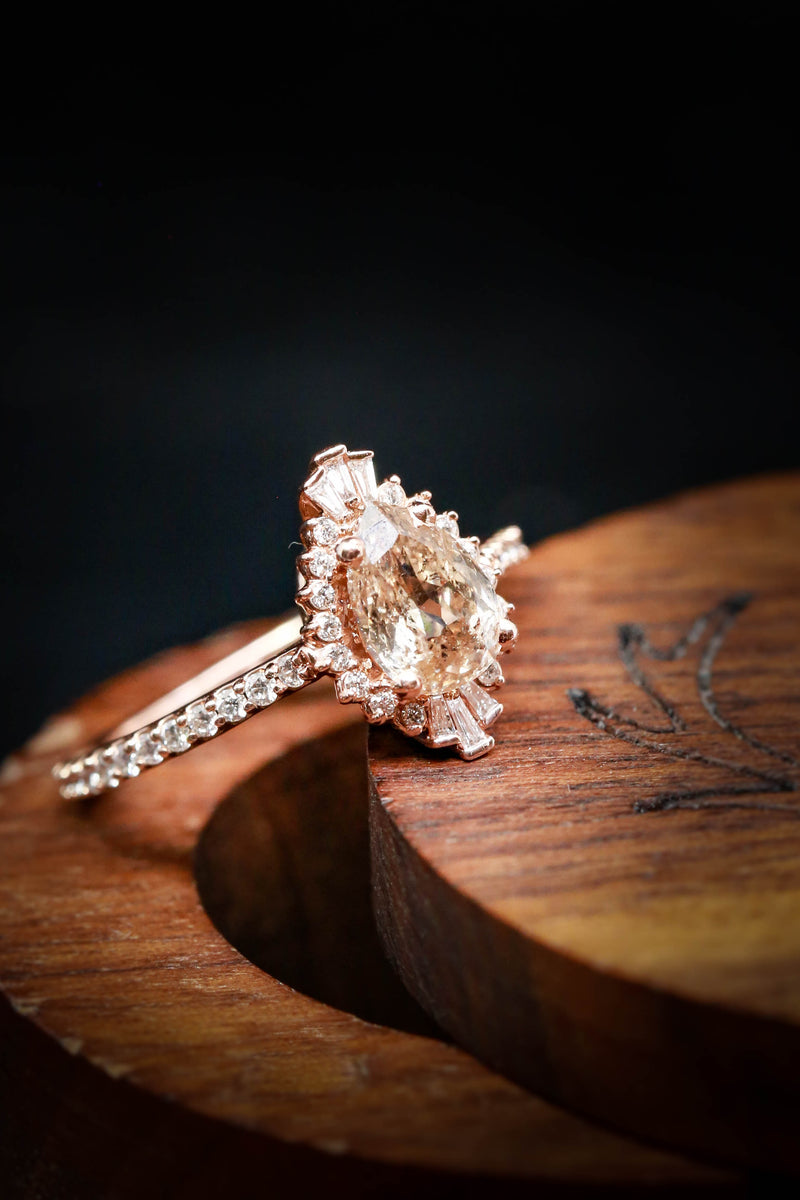 """THEIA"" - CHAMPAGNE DIAMOND ENGAGEMENT RING WITH DIAMOND ACCENTS (fully customizable)"