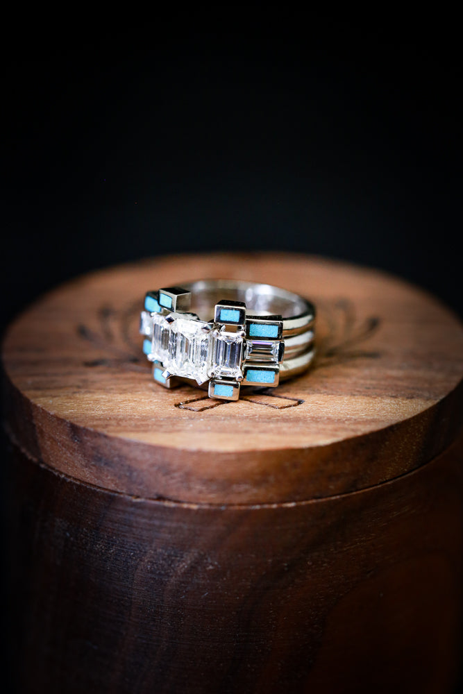 MOISSANITE ENGAGEMENT RING IN 14K GOLD WITH TWO TURQUOISE STACKING BANDS (available in 14K rose, yellow, or white gold)
