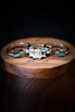 Turquoise Wedding Band Set - Moissanite Wedding Ring - Staghead Designs