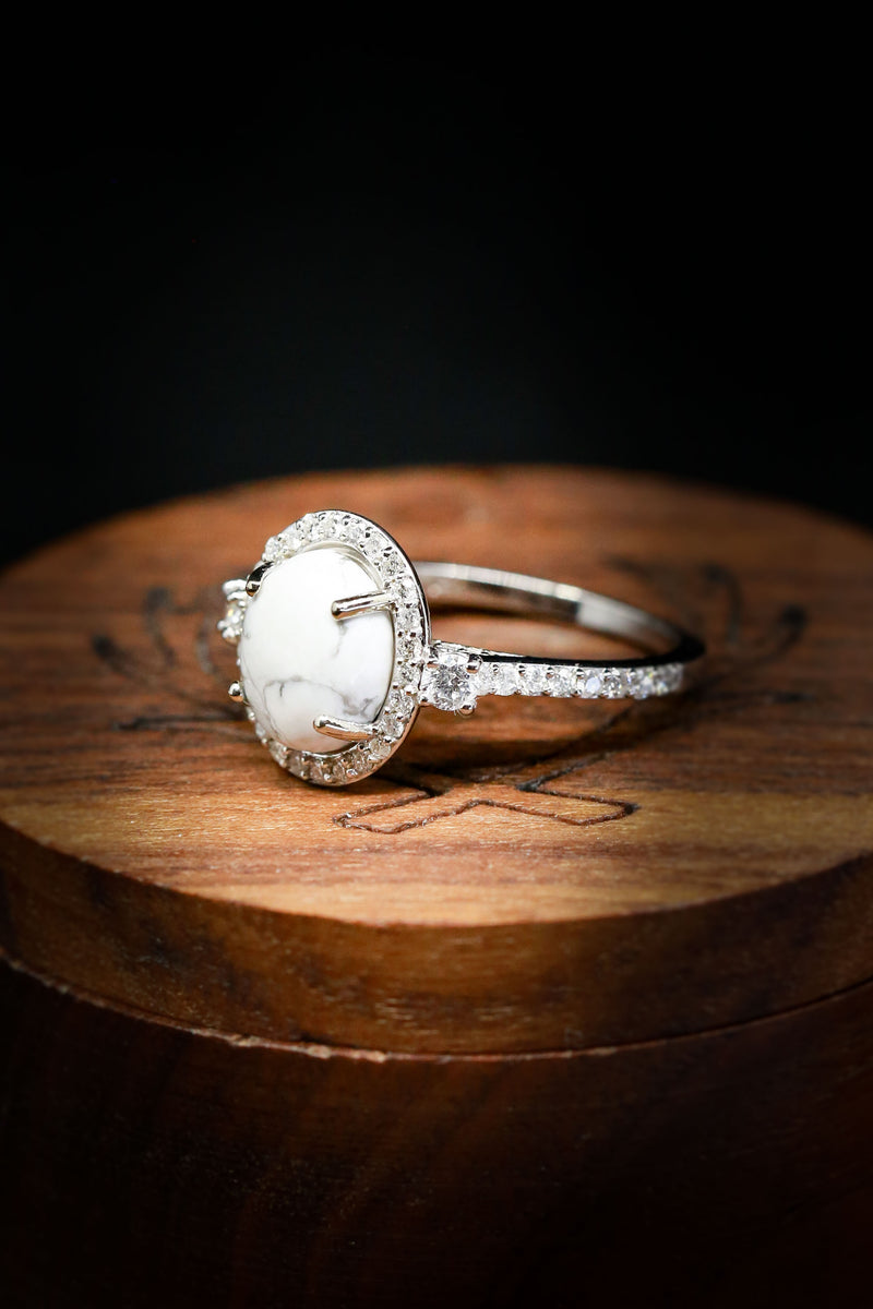 """KB"" - WHITE BUFFALO TURQUOISE ENGAGEMENT RING WITH DIAMOND ACCENTS AND TRACER BAND (available in 14K rose, white, or yellow gold)"