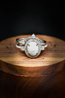 Custom Women's Engagement Ring with White Buffalo Turquoise - Staghead Designs